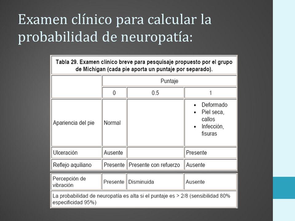Examen clínico para calcular la probabilidad de neuropatía: