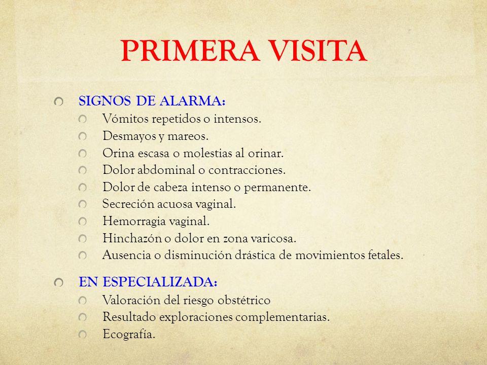 PRIMERA VISITA SIGNOS DE ALARMA: Vómitos repetidos o intensos.