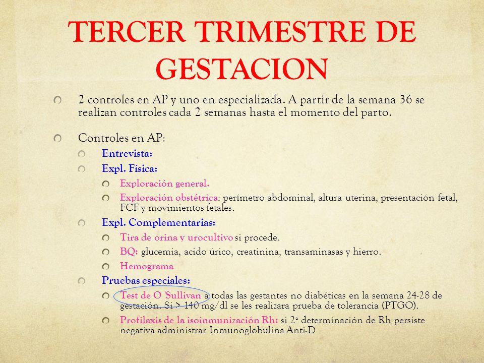 TERCER TRIMESTRE DE GESTACION 2 controles en AP y uno en especializada.
