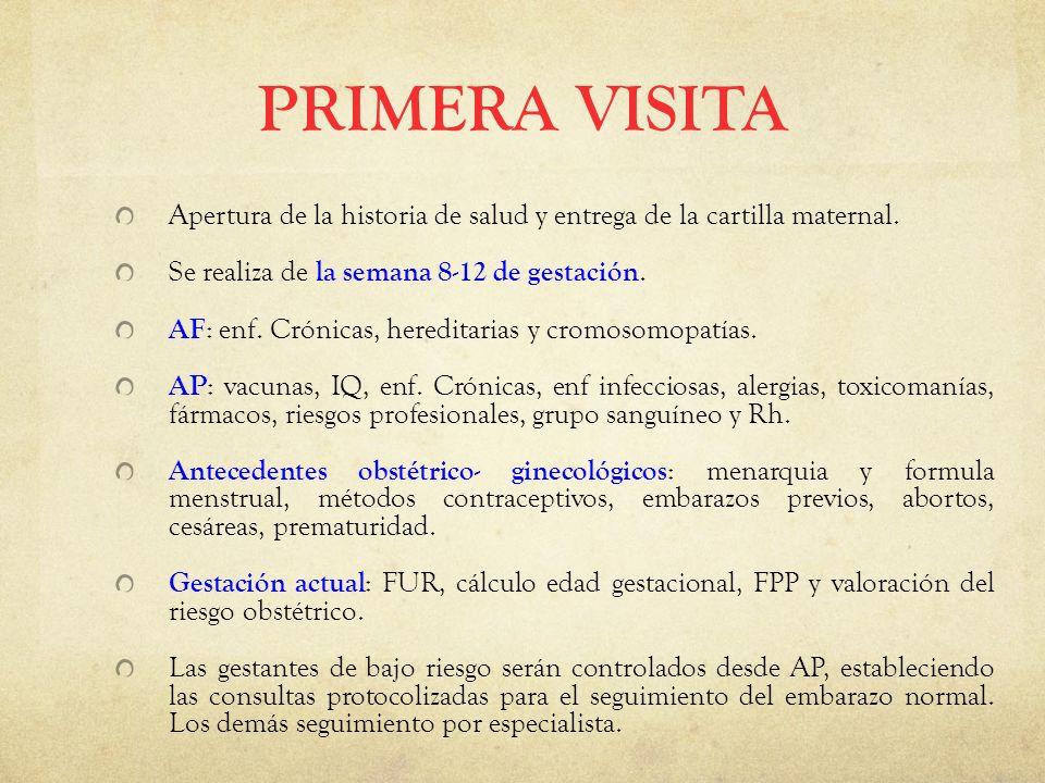 PRIMERA VISITA Apertura de la historia de salud y entrega de la cartilla maternal.