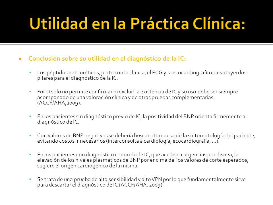 Conclusión sobre su utilidad en el diagnóstico de la IC: Los péptidos natriuréticos, junto con la clínica, el ECG y la ecocardiografía constituyen los