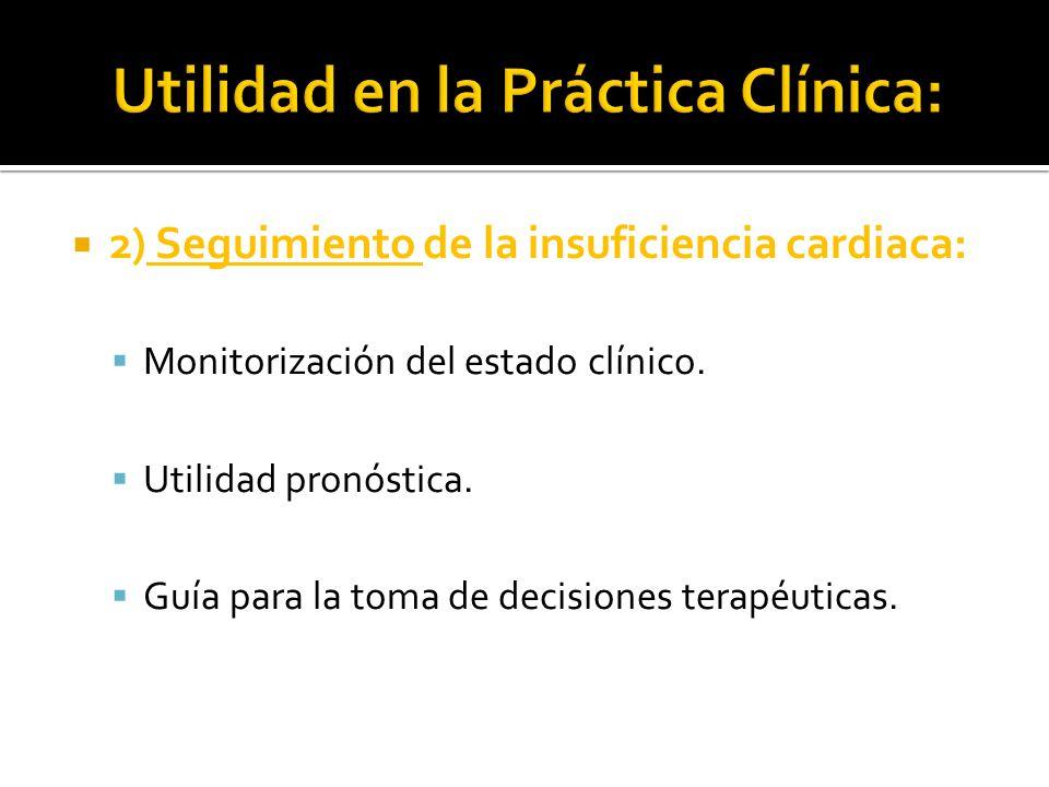 2) Seguimiento de la insuficiencia cardiaca: Monitorización del estado clínico. Utilidad pronóstica. Guía para la toma de decisiones terapéuticas.