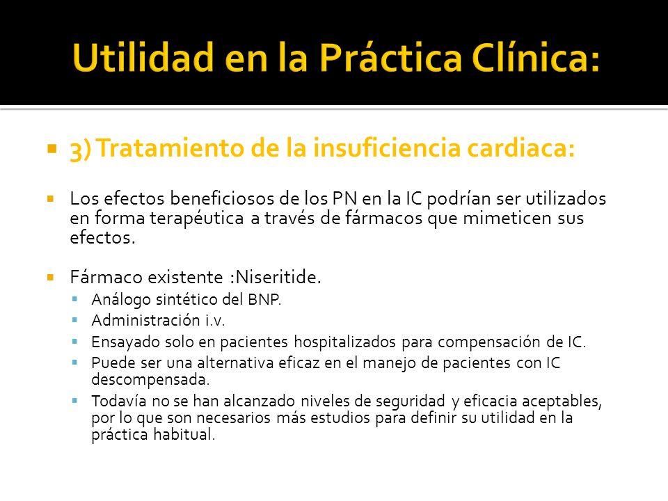 3) Tratamiento de la insuficiencia cardiaca: Los efectos beneficiosos de los PN en la IC podrían ser utilizados en forma terapéutica a través de fárma