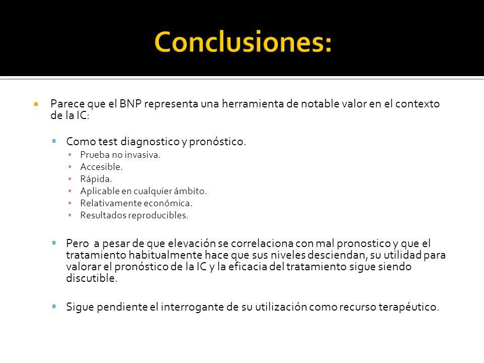 Parece que el BNP representa una herramienta de notable valor en el contexto de la IC: Como test diagnostico y pronóstico. Prueba no invasiva. Accesib