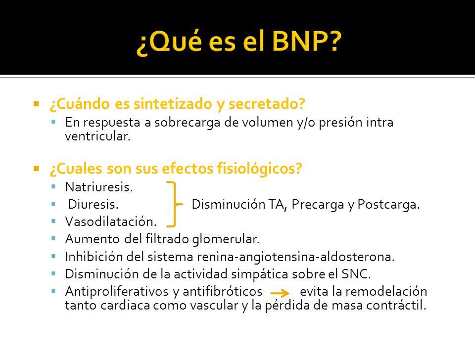 Valores Normales en pacientes Sanos: BNP: entre 0,5 y 30 pg/ml.