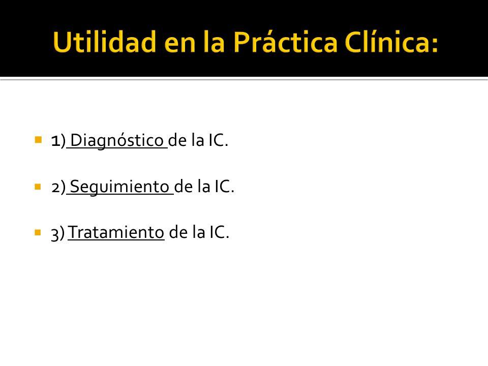 1 ) Diagnóstico de la IC. 2) Seguimiento de la IC. 3) Tratamiento de la IC.