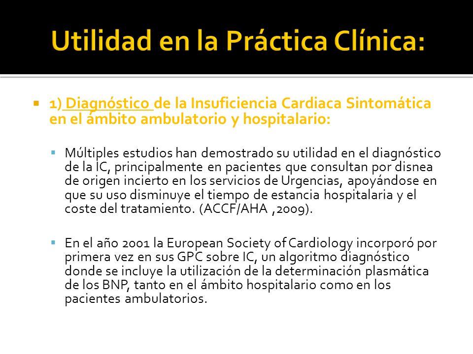 1) Diagnóstico de la Insuficiencia Cardiaca Sintomática en el ámbito ambulatorio y hospitalario: Múltiples estudios han demostrado su utilidad en el d