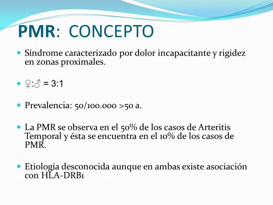 CLÍNICA Dolor de carácter inflamatorio, sobretodo nocturno Rigidez matinal PROXIMAL en cuello y cintura escapular y/o pélvica.