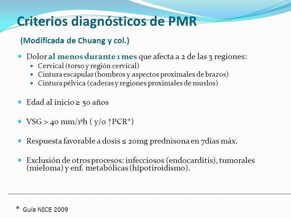 Criterios del American College of Rheumatology Edad 50 años VSG 50 mm Cefalea de reciente comienzo o distinta de la habitual Arteria temporal anormal a la exploración Biopsia + 3 de 5 criterios (S y E > 90%).