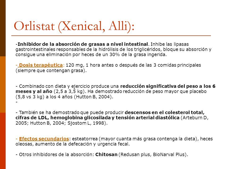 Orlistat (Xenical, Alli): -Inhibidor de la absorción de grasas a nivel intestinal. Inhibe las lipasas gastrointestinales responsables de la hidrólisis