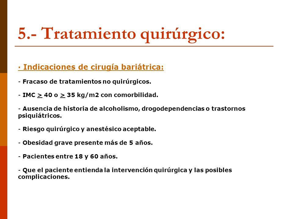 5.- Tratamiento quirúrgico: · Indicaciones de cirugía bariátrica: - Fracaso de tratamientos no quirúrgicos. - IMC > 40 o > 35 kg/m2 con comorbilidad.