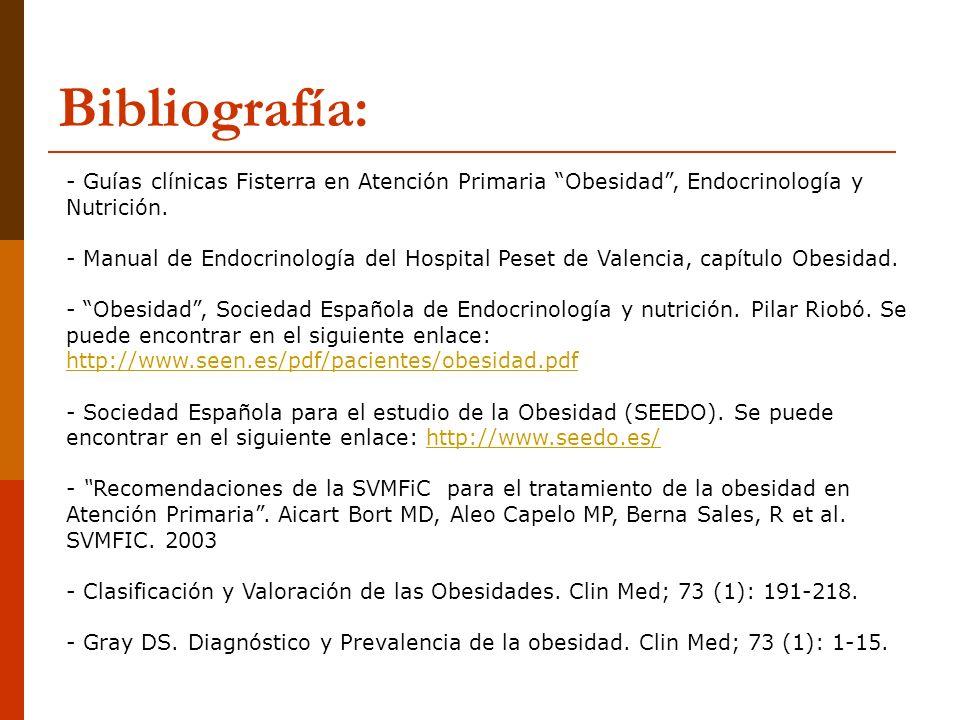 Bibliografía: - Guías clínicas Fisterra en Atención Primaria Obesidad, Endocrinología y Nutrición. - Manual de Endocrinología del Hospital Peset de Va