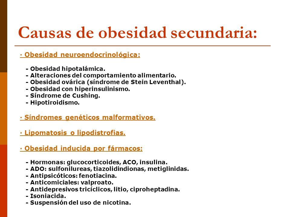 Causas de obesidad secundaria: · Obesidad neuroendocrinológica: - Obesidad hipotalámica. - Alteraciones del comportamiento alimentario. - Obesidad ová