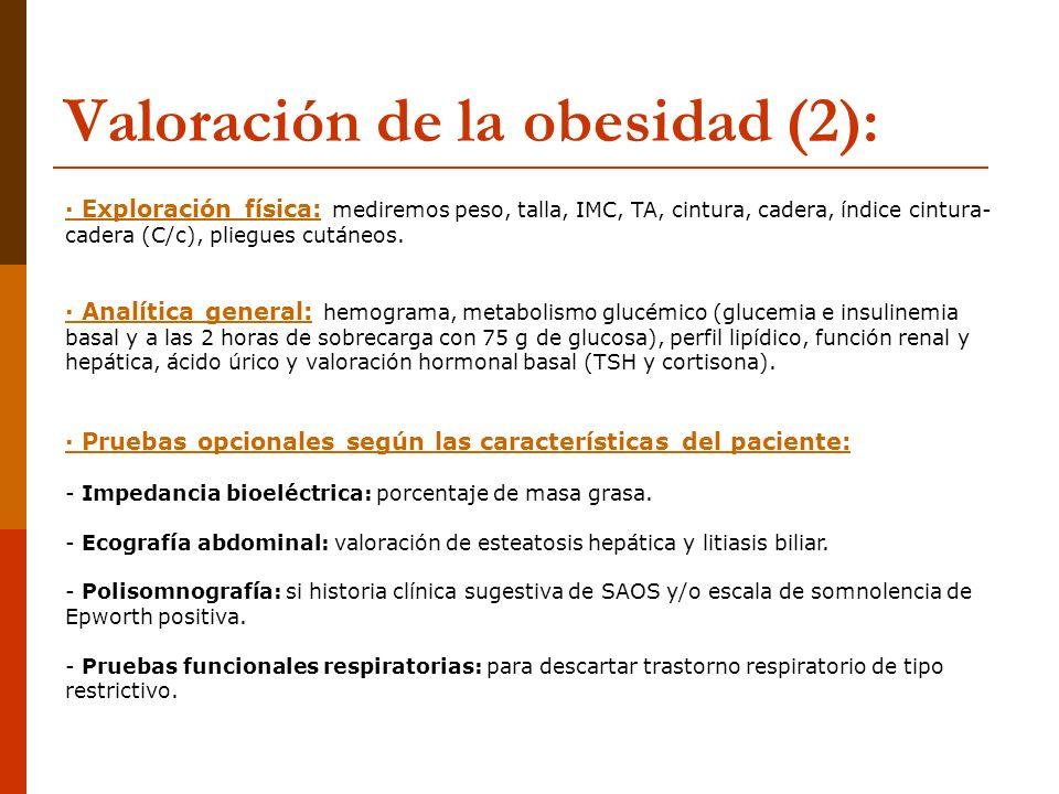Valoración de la obesidad (2): · Exploración física: mediremos peso, talla, IMC, TA, cintura, cadera, índice cintura- cadera (C/c), pliegues cutáneos.