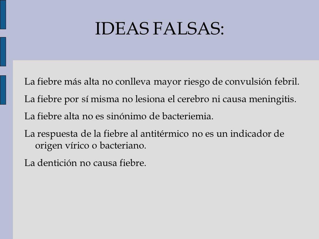 IDEAS FALSAS: La fiebre más alta no conlleva mayor riesgo de convulsión febril. La fiebre por sí misma no lesiona el cerebro ni causa meningitis. La f