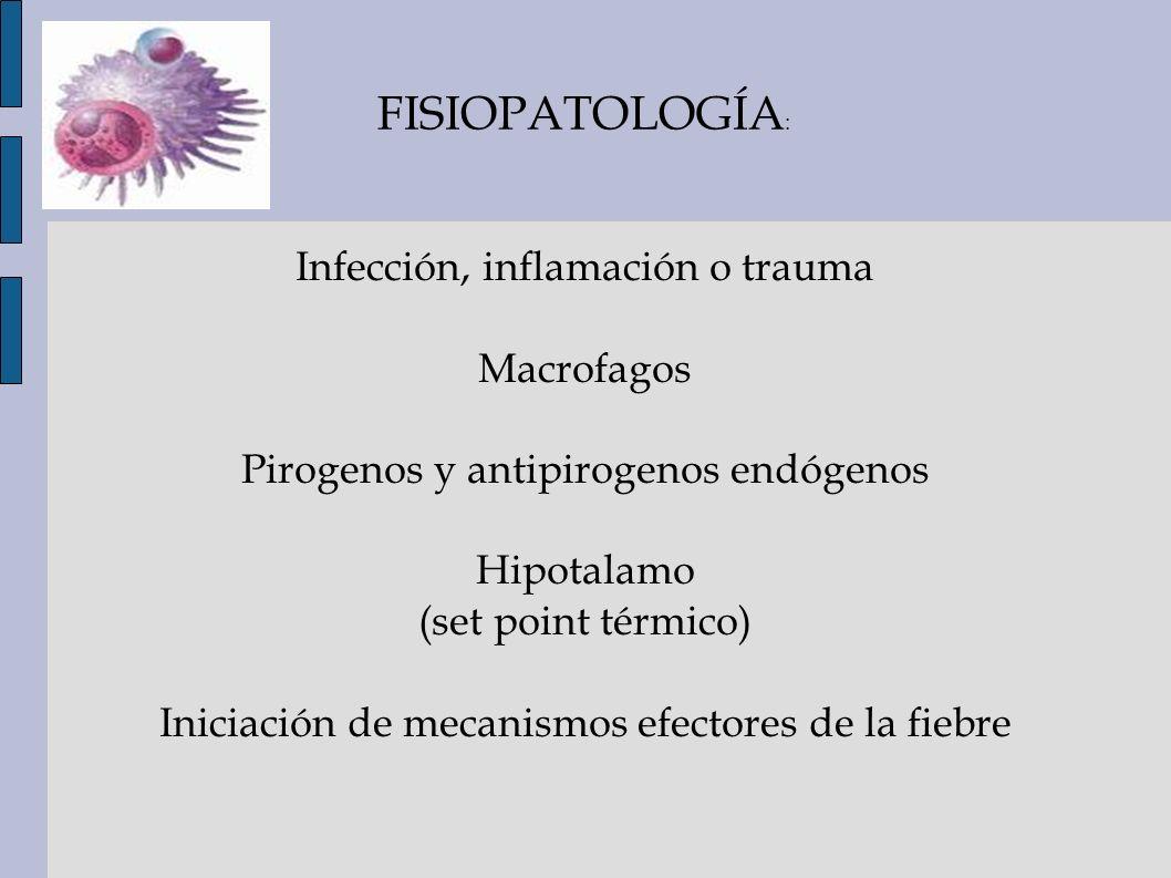 FISIOPATOLOGÍA : Infección, inflamación o trauma Macrofagos Pirogenos y antipirogenos endógenos Hipotalamo (set point térmico) Iniciación de mecanismo