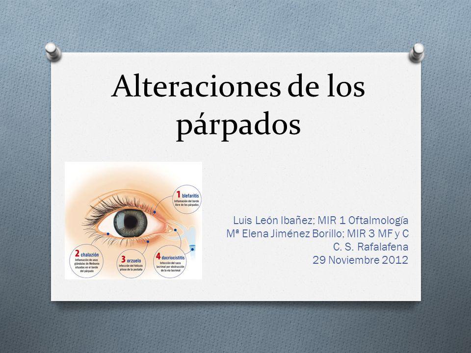 Alteraciones de los párpados Luis León Ibañez; MIR 1 Oftalmología Mª Elena Jiménez Borillo; MIR 3 MF y C C. S. Rafalafena 29 Noviembre 2012