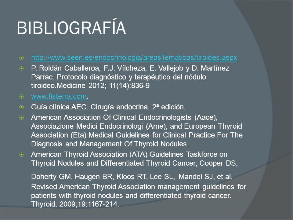 BIBLIOGRAFÍA http://www.seen.es/endocrinologia/areasTematicas/tiroides.aspx P. Roldán Caballeroa, F.J. Vílcheza, E. Vallejob y D. Martínez Parrac. Pro