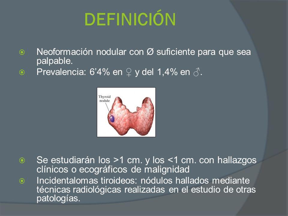 DEFINICIÓN Neoformación nodular con Ø suficiente para que sea palpable. Prevalencia: 64% en y del 1,4% en. Se estudiarán los >1 cm. y los <1 cm. con h