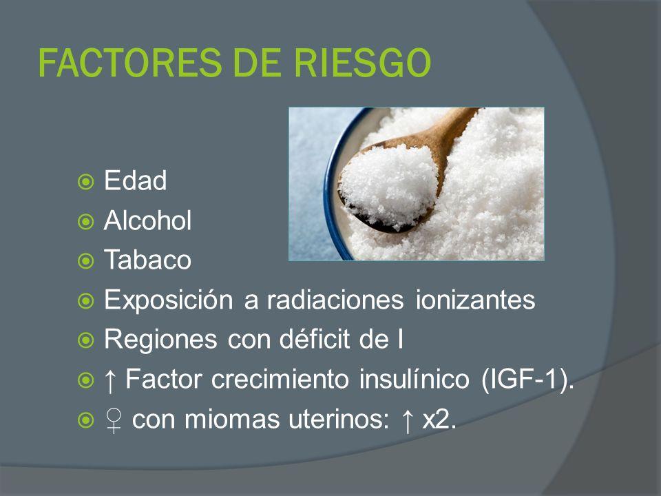 FACTORES DE RIESGO Edad Alcohol Tabaco Exposición a radiaciones ionizantes Regiones con déficit de I Factor crecimiento insulínico (IGF-1). con miomas