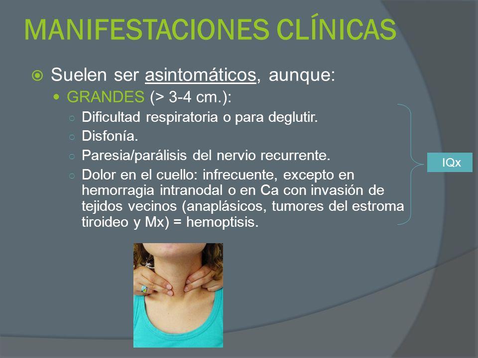 MANIFESTACIONES CLÍNICAS Suelen ser asintomáticos, aunque: GRANDES (> 3-4 cm.): Dificultad respiratoria o para deglutir. Disfonía. Paresia/parálisis d