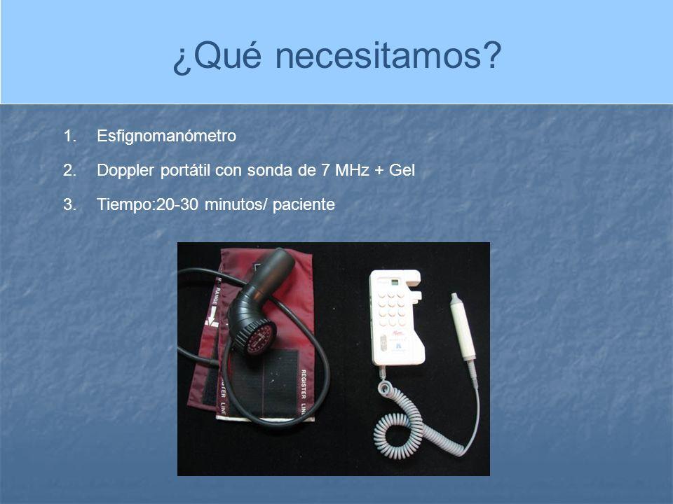 1.Esfignomanómetro 2.Doppler portátil con sonda de 7 MHz + Gel 3.Tiempo:20-30 minutos/ paciente ¿Qué necesitamos?