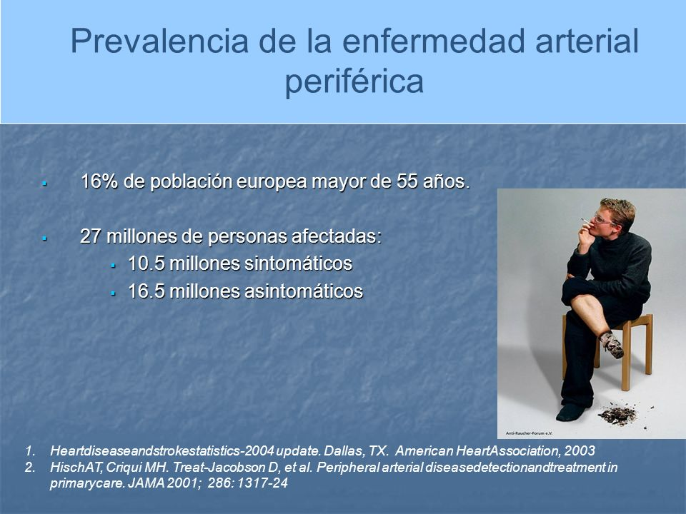 PREVALENCIA DE LA ENFERMEDAD ARTERIAL PERIFERICA 16% de población europea mayor de 55 años. 16% de población europea mayor de 55 años. 27 millones de