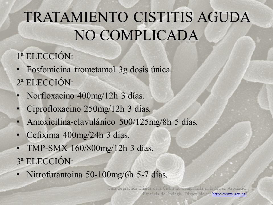 1ª ELECCIÓN: Fosfomicina trometamol 3g dosis única. 2ª ELECCIÓN: Norfloxacino 400mg/12h 3 días. Ciprofloxacino 250mg/12h 3 días. Amoxicilina-clavuláni