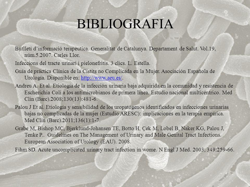 BIBLIOGRAFIA Butlletí dinformació terapèutica. Generalitat de Catalunya. Departament de Salut. Vol.19, núm.5.2007. Carles Llor. Infeccions del tracte
