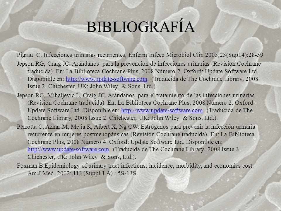 BIBLIOGRAFÍA Pigrau C. Infecciones urinarias recurrentes. Enferm Infecc Microbiol Clin 2005;23(Supl.4):28-39 Jepson RG, Craig JC. Arándanos para la pr