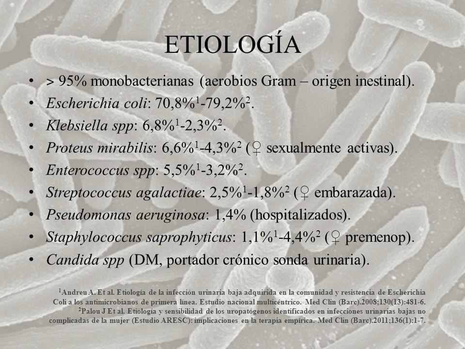 ETIOLOGÍA ˃ 95% monobacterianas (aerobios Gram – origen inestinal). Escherichia coli: 70,8% 1 -79,2% 2. Klebsiella spp: 6,8% 1 -2,3% 2. Proteus mirabi
