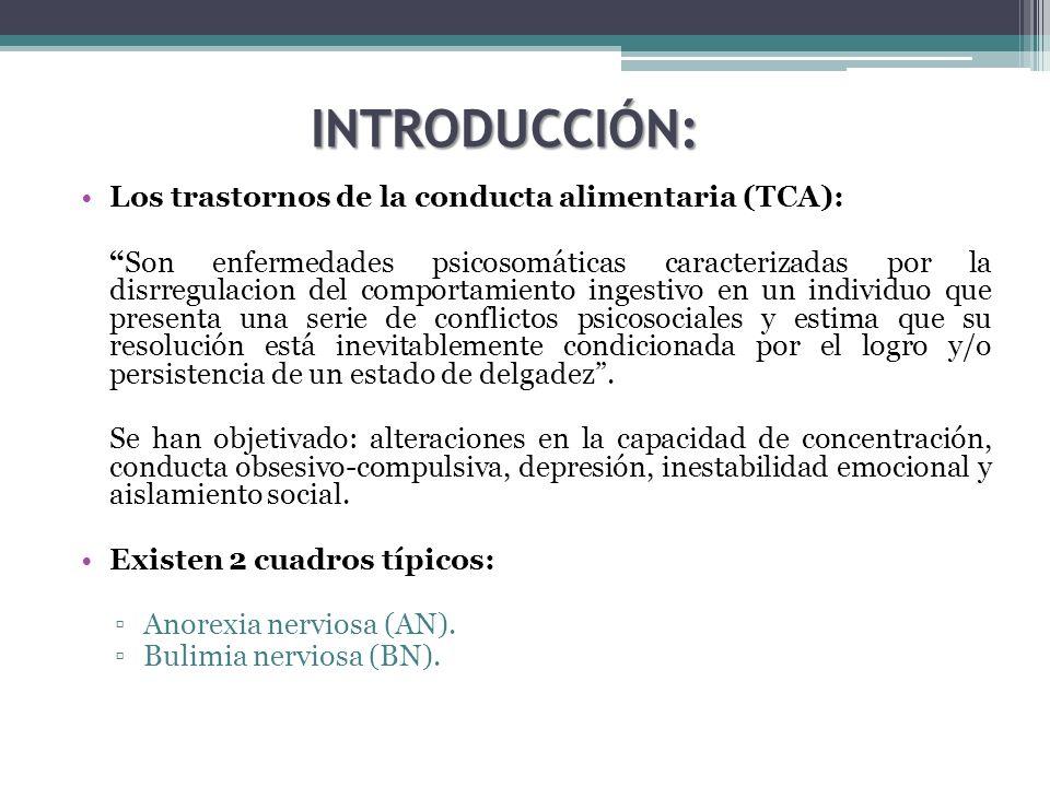 INTRODUCCIÓN: Los trastornos de la conducta alimentaria (TCA): Son enfermedades psicosomáticas caracterizadas por la disrregulacion del comportamiento