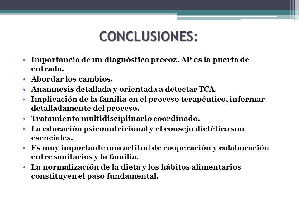 CONCLUSIONES: Importancia de un diagnóstico precoz. AP es la puerta de entrada. Abordar los cambios. Anamnesis detallada y orientada a detectar TCA. I