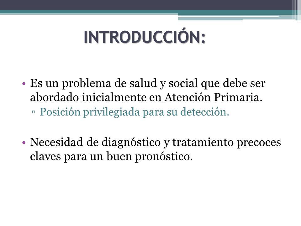 INTRODUCCIÓN: Es un problema de salud y social que debe ser abordado inicialmente en Atención Primaria. Posición privilegiada para su detección. Neces