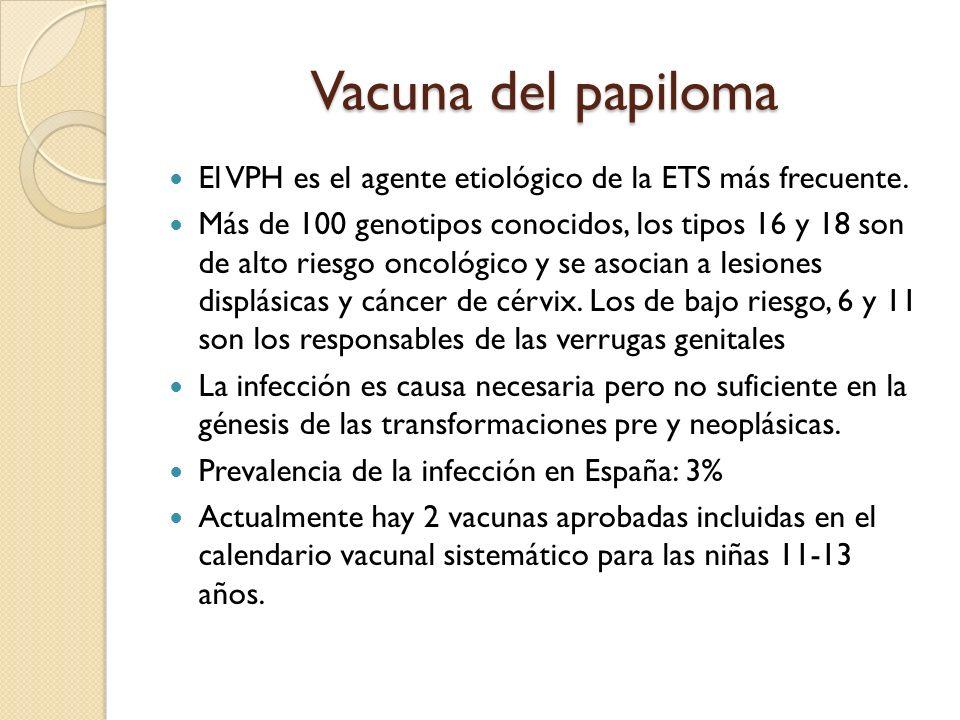 Vacuna del papiloma El VPH es el agente etiológico de la ETS más frecuente. Más de 100 genotipos conocidos, los tipos 16 y 18 son de alto riesgo oncol