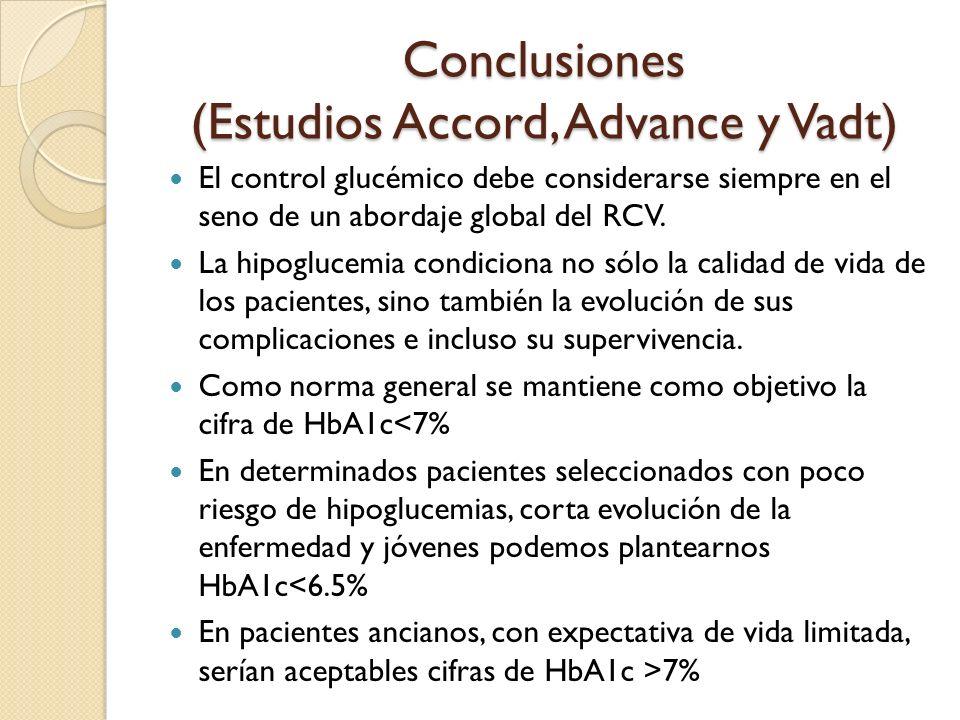 Conclusiones (Estudios Accord, Advance y Vadt) El control glucémico debe considerarse siempre en el seno de un abordaje global del RCV. La hipoglucemi