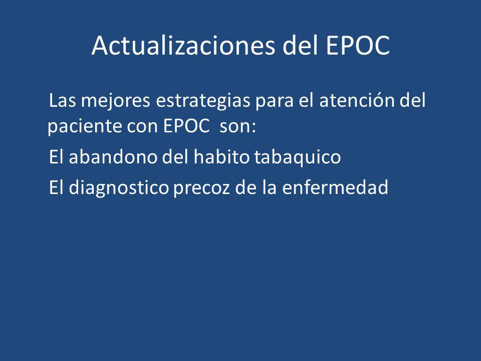 Actualizaciones del EPOC Las mejores estrategias para el atención del paciente con EPOC son: El abandono del habito tabaquico El diagnostico precoz de