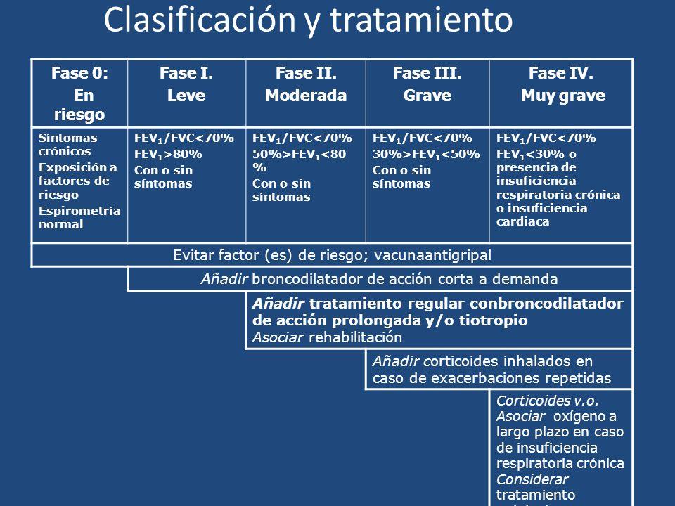 Clasificación y tratamiento Fase 0: En riesgo Fase I. Leve Fase II. Moderada Fase III. Grave Fase IV. Muy grave Síntomas crónicos Exposición a factore