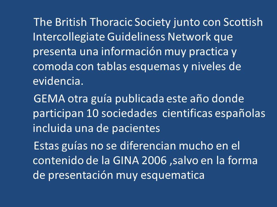 The British Thoracic Society junto con Scottish Intercollegiate Guideliness Network que presenta una información muy practica y comoda con tablas esqu
