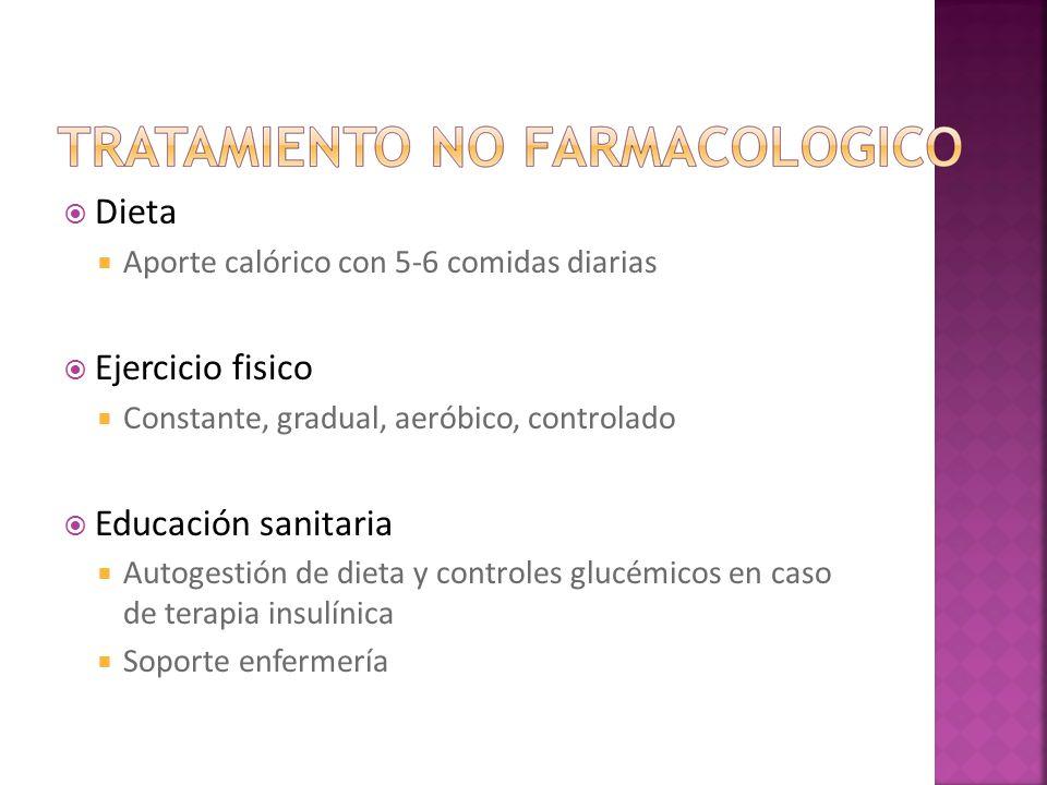 Dieta Aporte calórico con 5-6 comidas diarias Ejercicio fisico Constante, gradual, aeróbico, controlado Educación sanitaria Autogestión de dieta y con