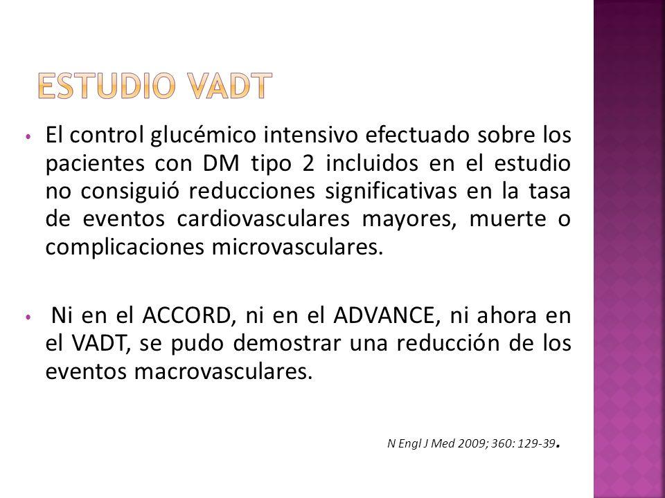 El control glucémico intensivo efectuado sobre los pacientes con DM tipo 2 incluidos en el estudio no consiguió reducciones significativas en la tasa