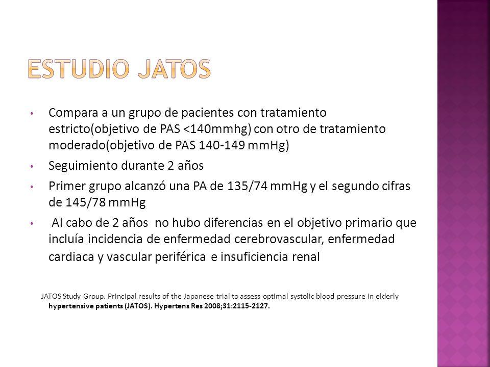 Compara a un grupo de pacientes con tratamiento estricto(objetivo de PAS <140mmhg) con otro de tratamiento moderado(objetivo de PAS 140-149 mmHg) Segu
