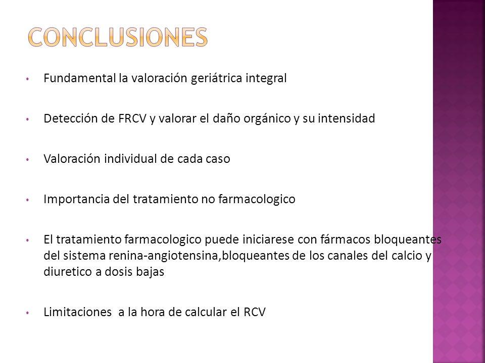 Fundamental la valoración geriátrica integral Detección de FRCV y valorar el daño orgánico y su intensidad Valoración individual de cada caso Importan