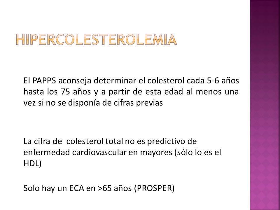 El PAPPS aconseja determinar el colesterol cada 56 años hasta los 75 años y a partir de esta edad al menos una vez si no se disponía de cifras previas