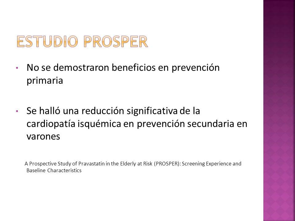 No se demostraron beneficios en prevención primaria Se halló una reducción significativa de la cardiopatía isquémica en prevención secundaria en varon