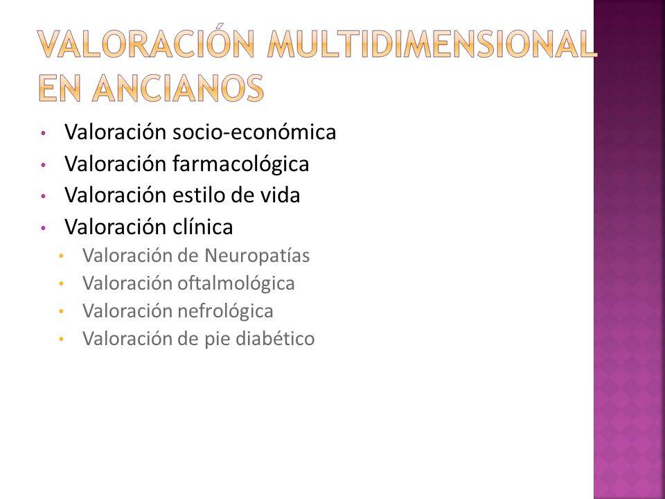 Valoración socio-económica Valoración farmacológica Valoración estilo de vida Valoración clínica Valoración de Neuropatías Valoración oftalmológica Va