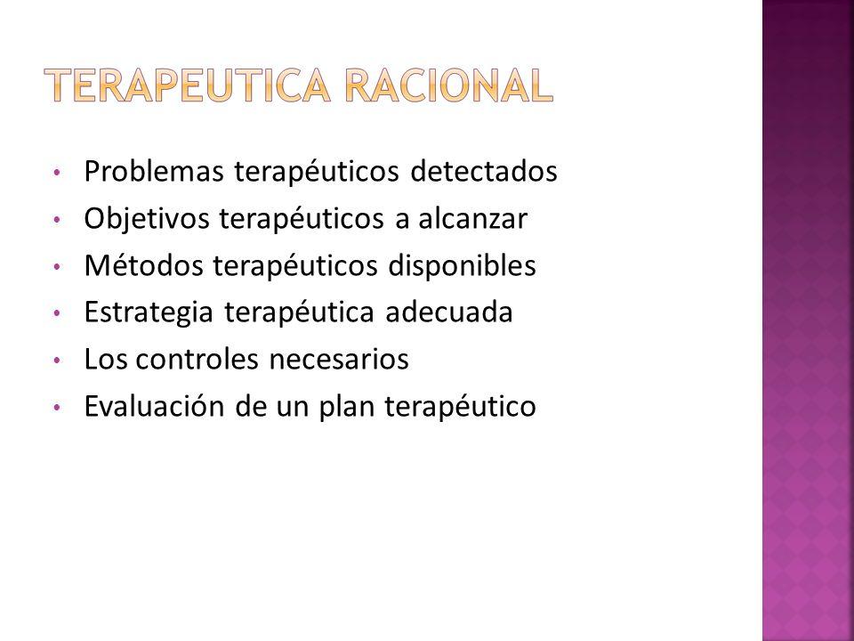 Problemas terapéuticos detectados Objetivos terapéuticos a alcanzar Métodos terapéuticos disponibles Estrategia terapéutica adecuada Los controles nec