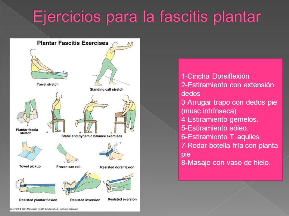 1-Cincha Dorsiflexión 2-Estiramiento con extensión dedos 3-Arrugar trapo con dedos pie (musc intrínseca) 4-Estiramiento gemelos. 5-Estiramiento sóleo.