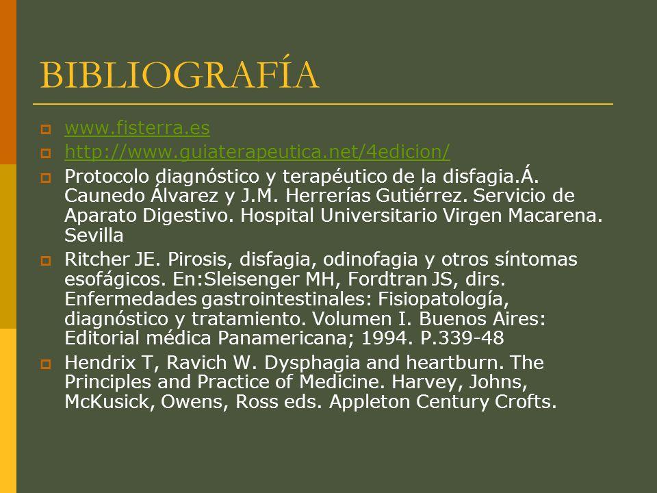 BIBLIOGRAFÍA www.fisterra.es http://www.guiaterapeutica.net/4edicion/ Protocolo diagnóstico y terapéutico de la disfagia.Á.