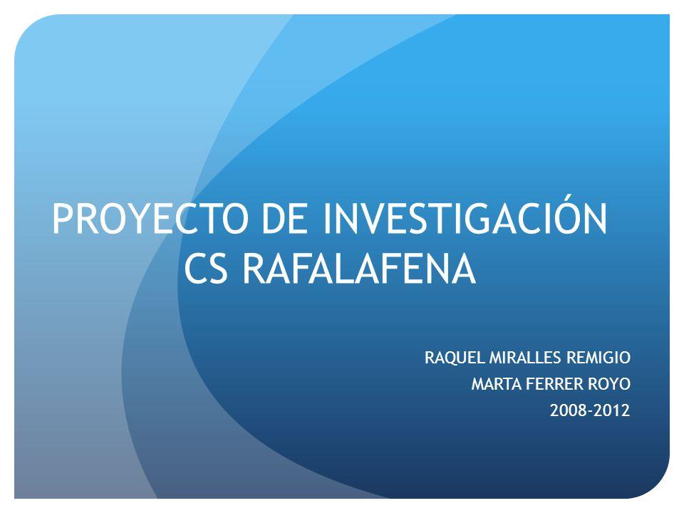 PROYECTO DE INVESTIGACIÓN CS RAFALAFENA RAQUEL MIRALLES REMIGIO MARTA FERRER ROYO 2008-2012